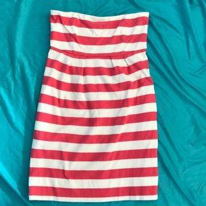 GAP pink and white stripe strapless dress